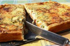 császárszalonna, francia, francia töltött tészta, omlós tészta, quiche, recept, tészta, tojás, vaj