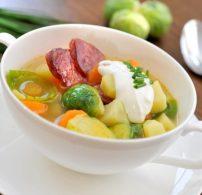 burgonya, kolbász, krumpli, leves
