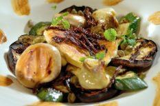 grill, kecskesajt, zöldség