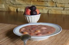 gyümölcs, leves, puding