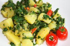 egészséges ételek, gasztronómia, kecskesajt, recept, spenót, újkrumpli