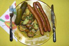 Bangó Margit, grillkolbász, petrezselyem, recept, újkrumpli