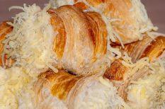 gasztronómia, leveles tészta, recept, sajt, sós süti, tekercs