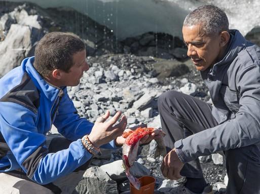 Barack Obama és Bear Grylls túlélős szakértő a vadonban, Kép: flickr