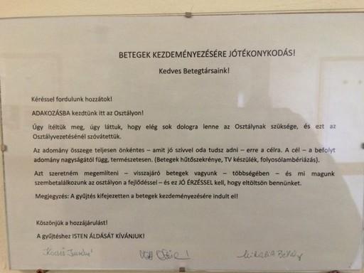 Kórházi tábla Kistarcsáról, amint kihirdették, hogy gyűjtést rendeznek, Kép: KaSa