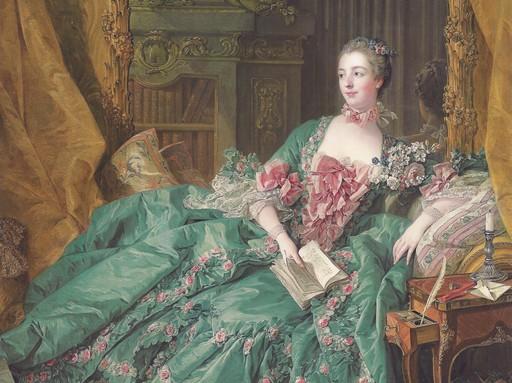 Madame de Pompadour egy kereveten, kezében egy könyv, Kép: wikimedia