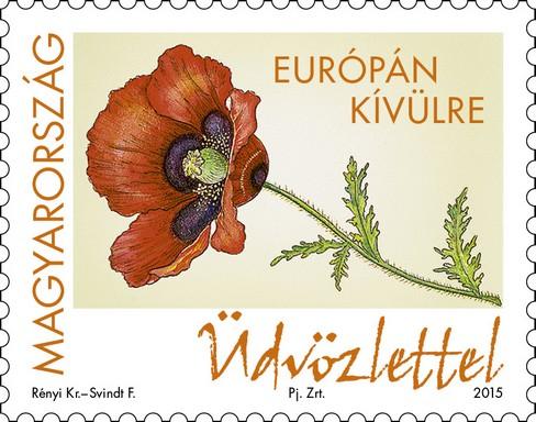 Egy szál pipacs Üdvözlettel felirattal, Kép: Magyar Posta