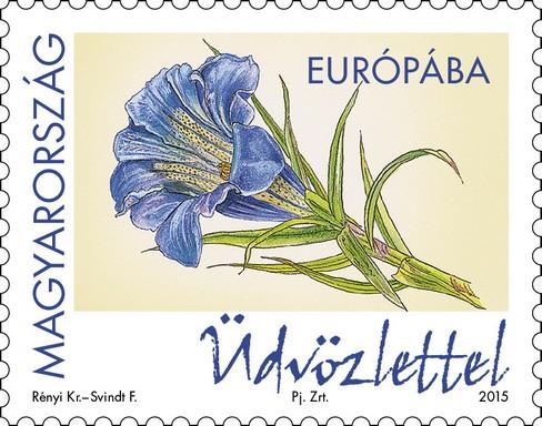 Száratlan tárnics, kék virág Üdvözlettel feliratú bélyeg Kép: Magyar Posta