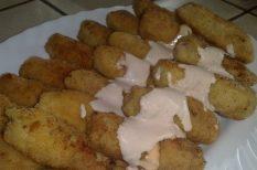 csirkehús, panír, zöldség