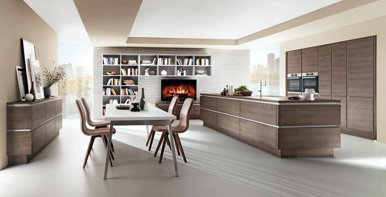 Barna konyha étkezővel, fehér padlózattal, Kép: sajtóanyag