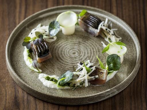 Makrélás tál: hallal és zöldségekkel szépen körberakott tál, Kép: Mészáros Ferenc