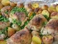csirke, kapor, újkrumpli, zöldborsó