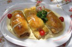 csirkemell, gomba, leveles tészta