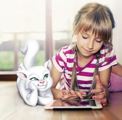 Kislány tablettel, rajzos cicával, Kép: sajtóanyag