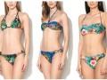bikini, csíkos, divat, etno mintás, fürdőruha, nyár, trend