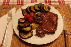 cukkini, grill, hátszín, nyári étel, padlizsán