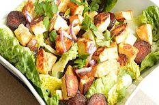 egészséges, egyszerű, halloumi, kolbász, saláta