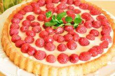 gyümölcstorta, málna, torta, ünnepi, vanília, vanília krém