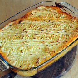 angol, darált hús, egytál étel, krumpli, krumplipüré