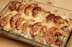 alma, csirke, csirkemell, egytál étel, rakott étel, sajt