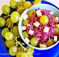 lila káposzta, ősz, sajt, saláta, szőlő