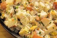 alma, burgonya, füstölt sajt, saláta, tartás mártás