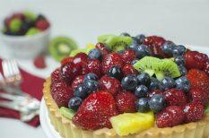desszert, gyümölcsös, kosárka, vanília puding