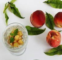 chia, chia mag, gyümölcs, tej