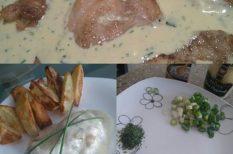 csirke, mustár, tejszín, újhagyma