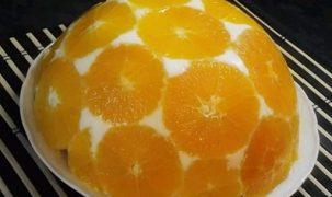 banán, narancs, torta, túró, zselatin
