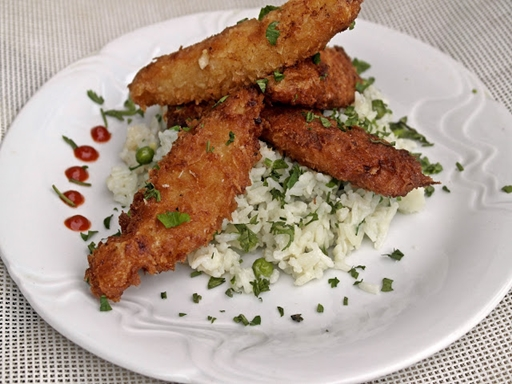 Pácolt csirkemell csíkok rizibizivel, Kép: Csánk Györgyi