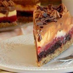 desszert, háztartási keksz, málna, sütés nélkül
