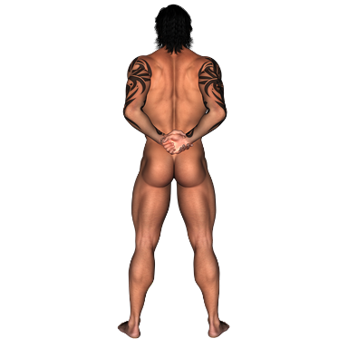 Meztelen férfi hátulról, két lábbal a földön, Kép: pixabay