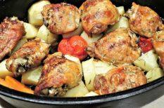 comb, csirke, sült csirke, sült zöldség, zöldség