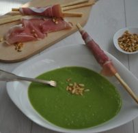 krémleves, leves, pármai sonka, tavaszi, zöldborsó