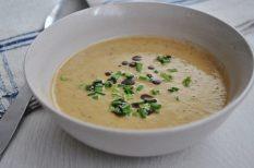 édesburgonya, krémleves, leves, tökmag, vargánya