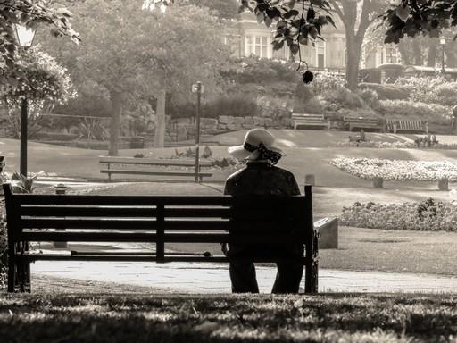 Idős nő ül háttal egy padon, Kép: publicdomainpictures