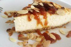 almalé, karamell, keksz, mandula, sajttorta, torta