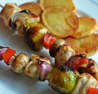 csirke, gomba, hagyma, nyárs, paprika, saslik