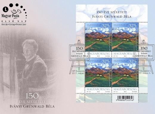 Iványi Grünwald Béla bélyegkisív és alkalmi boríték, Kép: Magyar Posta