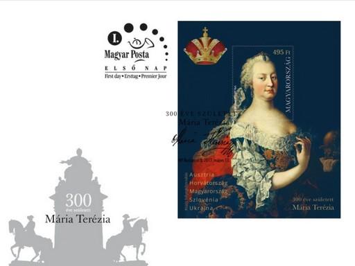 Mária Terézia bélyegblokk és alkalmi boríték, Kép: Magyar Posta