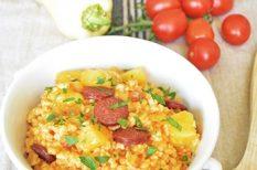 kolbász, krumpli, paraszti étel, pásztortarhonya, tarhonya