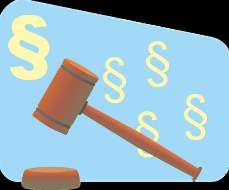 Paragrafus és bírói kalapács grafika, Kép: pixabay