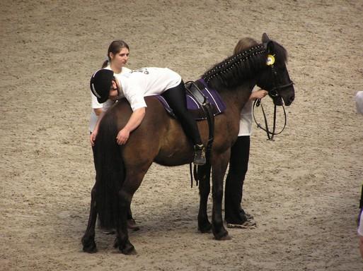 Lovasterápia, kidfiú fordítva ül a lovon, Kép: wikimedia