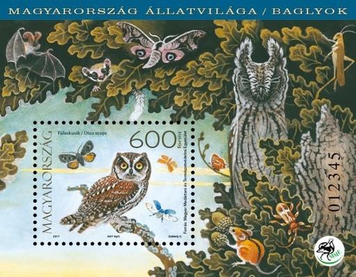 Baglyok bélyegblok, füleskuvik, Kép: Magyar Posta