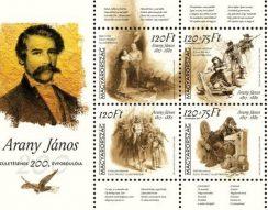 200. évforduló, Arany János, bélyeg, emlékélv, kisív, születésnap, Zichy Mihály