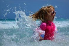gyerek, káros sugárzás, nap, szem, uv, védelem