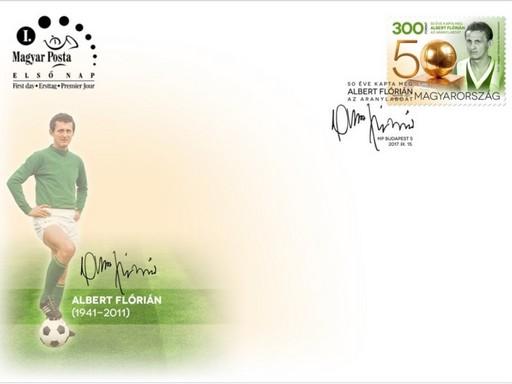 Albert Flórián alkalmi boríték a bélyeggel, Kép: Magyar posta