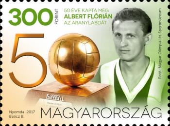 50 év, Albert Flórián, Aranylabda, foci, új bélyeg