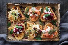 egészséges, friss, gofri, lazac, svéd recept, vörösáfonya
